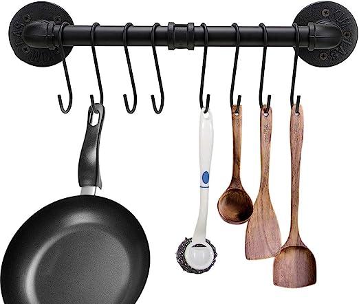 40 cm Soporte para ollas de cocina con 8 ganchos BTSKY