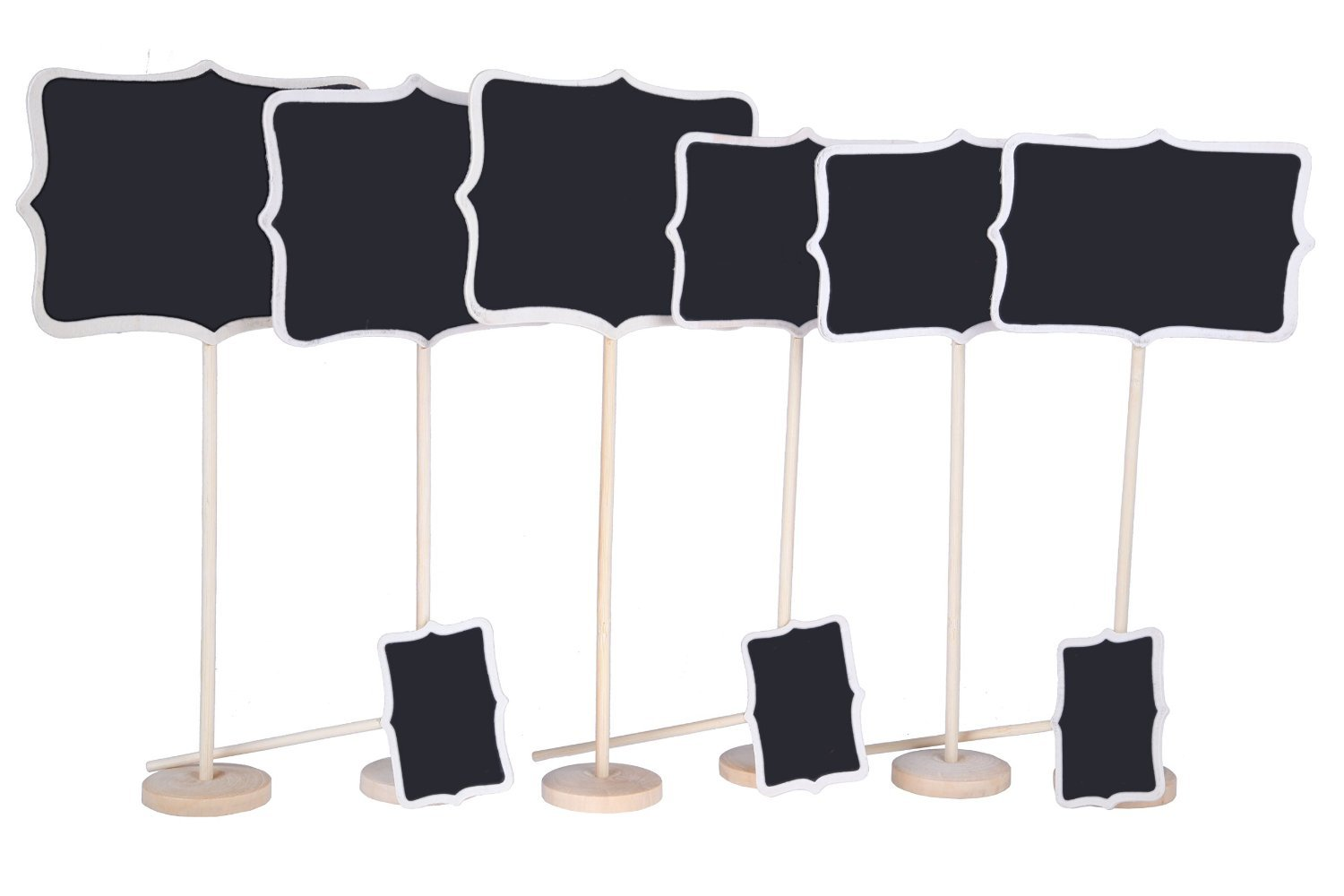 Juvale Vintage Photo Booth Props/Wedding Party Table Number Place Card Chalkboard/Blackboard Stand - 9 Piece Set - Lrg 6.5 x 14 Med 5.9 x 12 Sml 3.3 x 6.5 inches