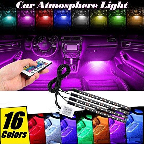 iokone coche tira de luces LED–4piezas 48LED multicolor RGB coche interior luces de ambiente música iluminación...