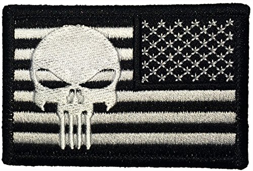 (Tactical Reverse USA Flag with Skull Patch 2