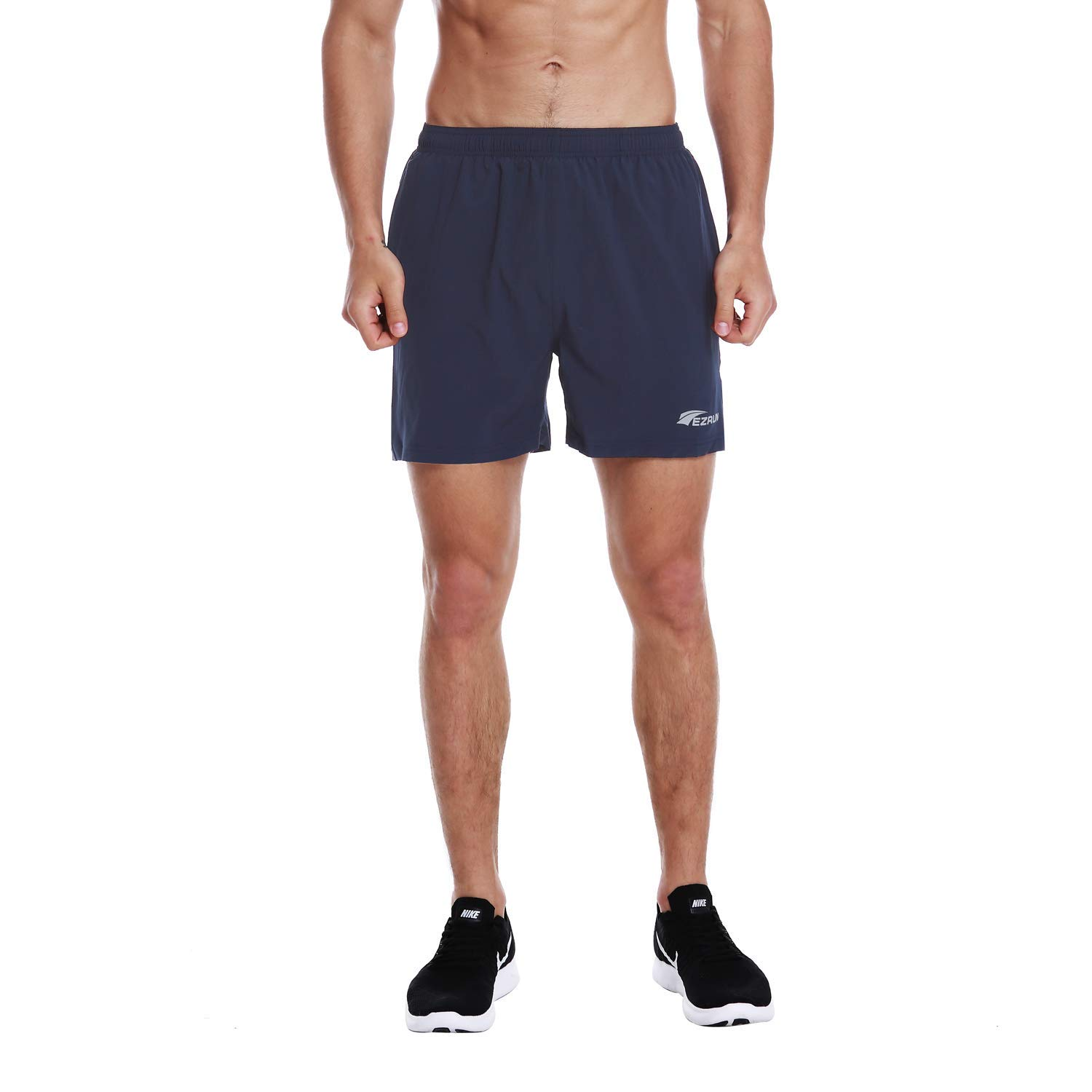 EZRUN Men's 5 Inches Running Workout Shorts Quick Dry Lightweight Athletic Shorts with Liner Zipper Pockets,Navy Blue,S by EZRUN