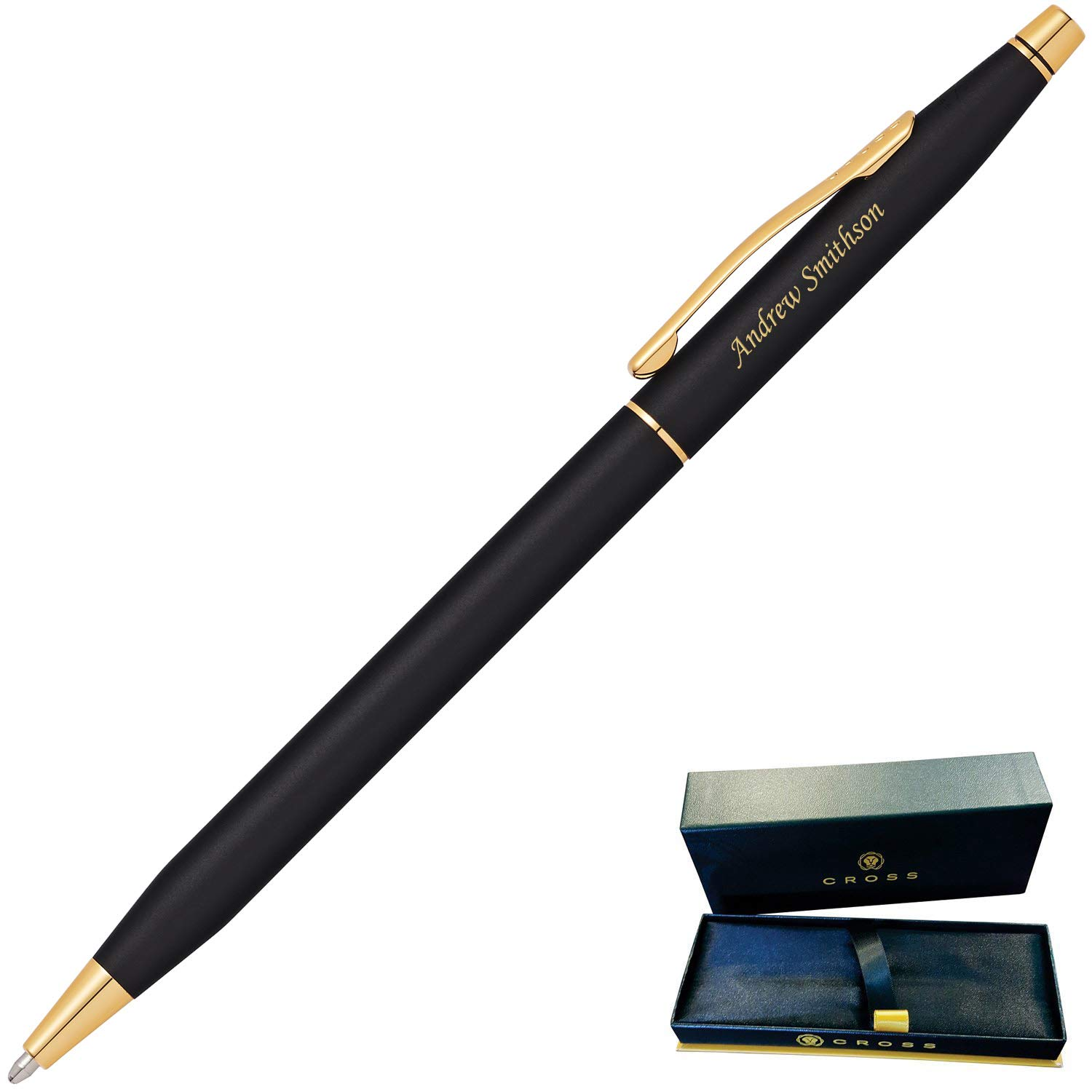 Dayspring Pens | Engraved/Personalized Cross Classic Century Black Ballpoint Pen with Gold Trim 2502. Custom Engraved Fast!