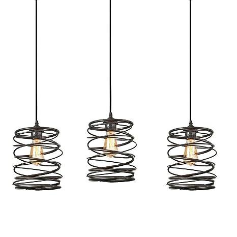 Track Lighting Pendants 3 Pack, Island Edison Hanging Lights Height  Customizable, Kitchen Light