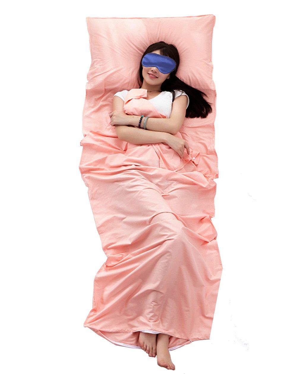 Share Maison 100% Cotton Sleeping Bag Liner Travel Sheet Camping Sleep Sheet Single/Double (Light Pink, 87''x71'') by Share Maison