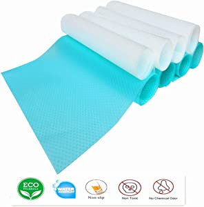 DearyHome 8 PCS Refrigerator Shelf Liners Washable Non Adhesive Shelf Pads Cabinet Mats for Storage Cupboard Fruit Vegetable Drawer Cabinet Table Liners, 11.4 x 17.7 inches (4 Transparent & 4 Blue)