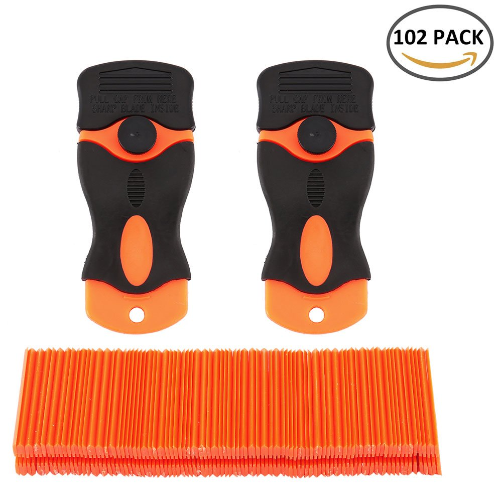 WarmCare 100pcs Double Edged Plastic Razor Blades Scraper with 2 Pc Scraper Removal for Auto Window Tint Vinyl Tool Application