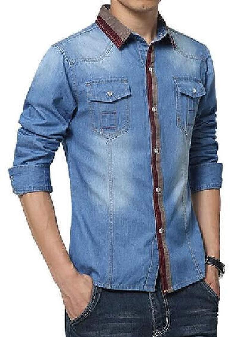 WAWAYA Mens Button Up Washed Casual Long Sleeve Slim Denim Work Western Shirt