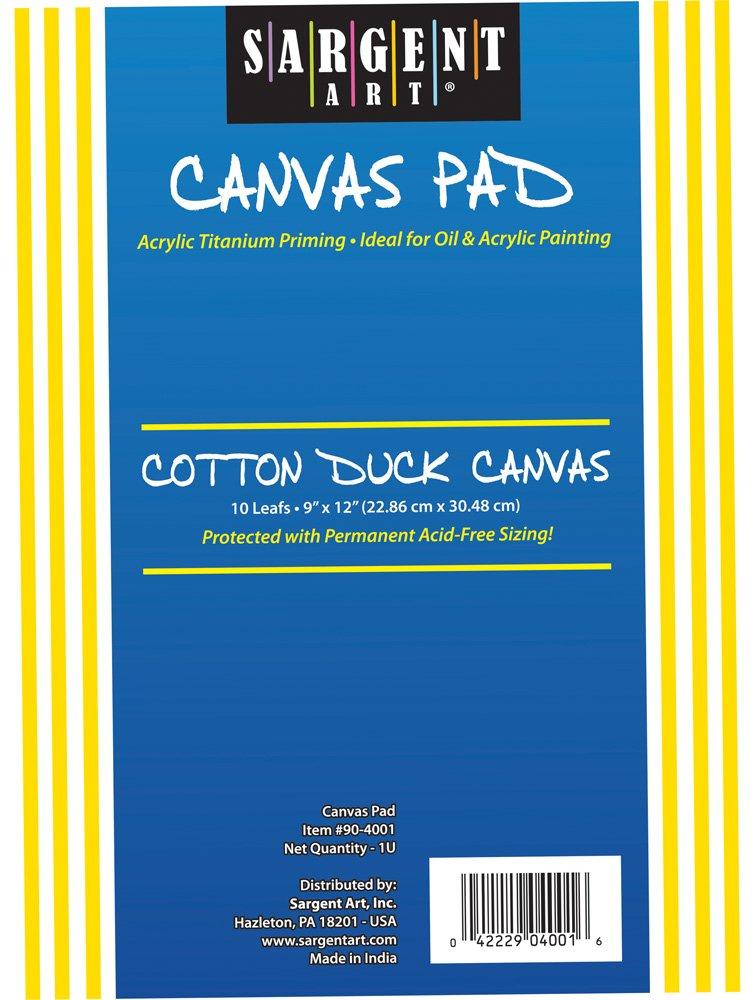 100/% Cotton Sargent Art 90-4004 8x10-Inch Canvas Pad