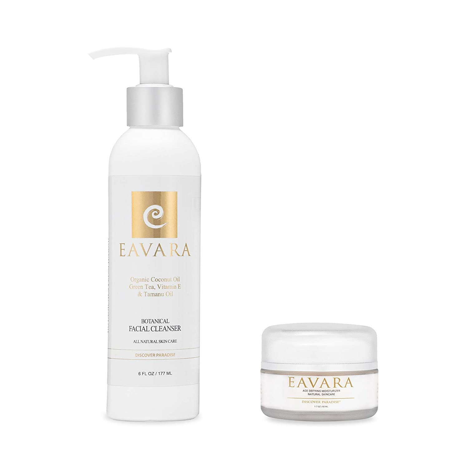 Award Winning Organic Facial Cleanser & Botanical Anti Aging Daily Moisturizer Cream   Natural Wrinkle Firming Skin Care   Hyaluronic   Organic Kukui Oil & Shea Butter   No Parabens or or or Sulfates