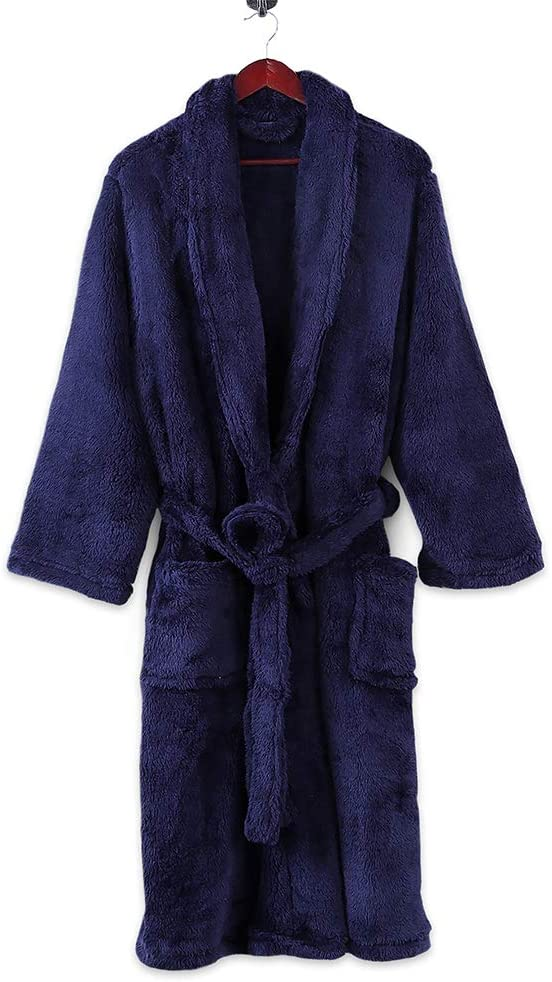 Berkshire Blanket Extra-Fluffy Plush Long Lounge Robe, Large Large, Atlantis