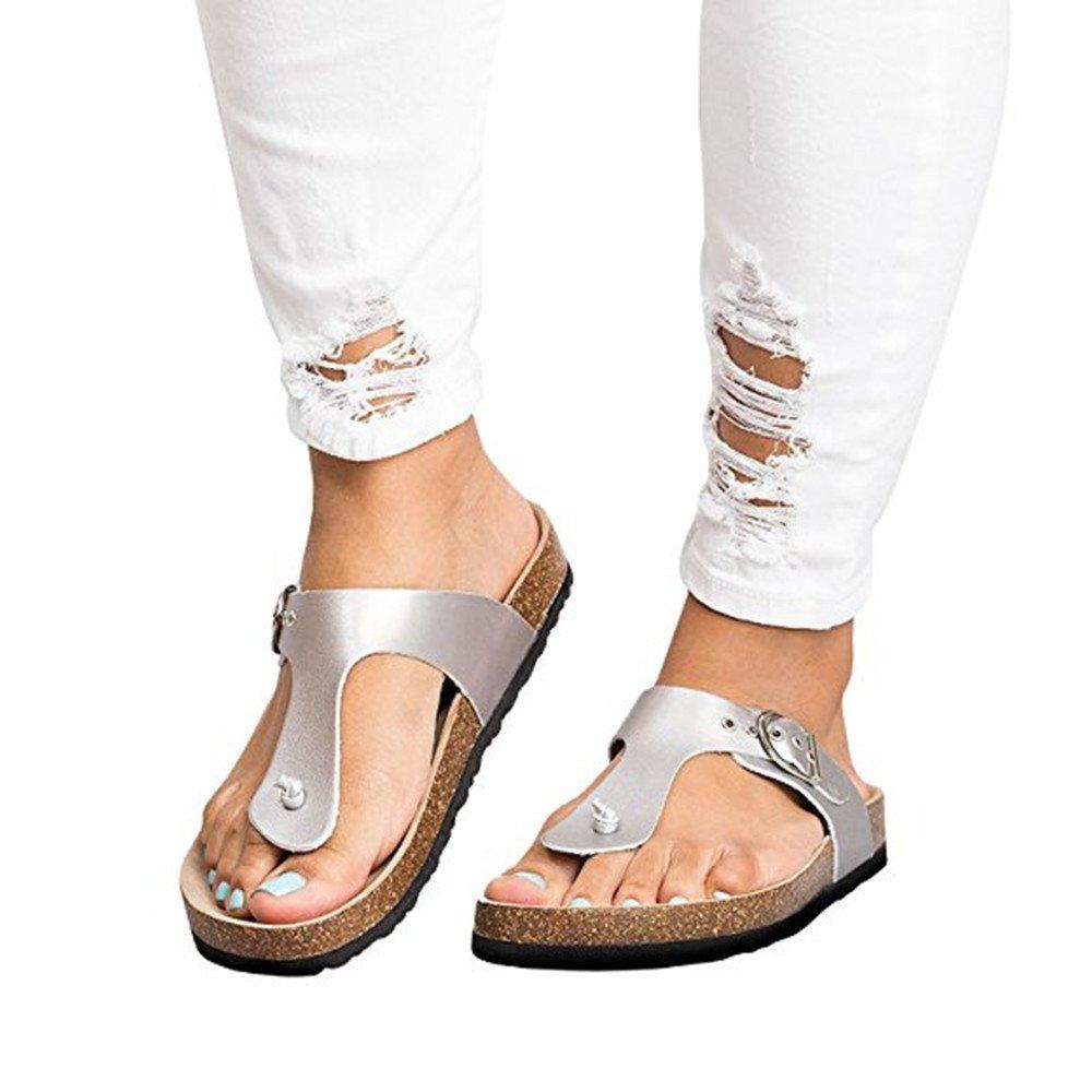 Shelers Damen Rutschen Flip Flops Sandalen Sommer Hausschuhe Zehentrenner (38 EU, Braun)