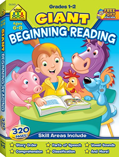 School Zone - Giant Beginning Reading Workbook - Ages 6 to 8, 1st Grade, 2nd Grade, Story Order, Vowels, Parts of Speech, Comprehension, Word Recognition, and More (School Zone Giant Workbook Series)