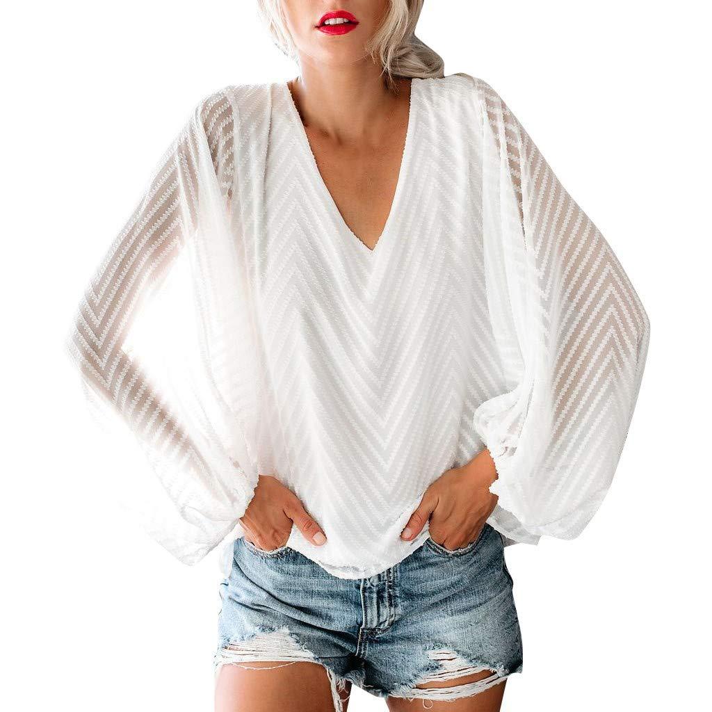 Tantisy ♣↭♣ Women V-Neck Puff Sleeve Loose Casual Tops Long Sleeve Riding Beach Sunscreen Net Yarn Sheer T Shirt White