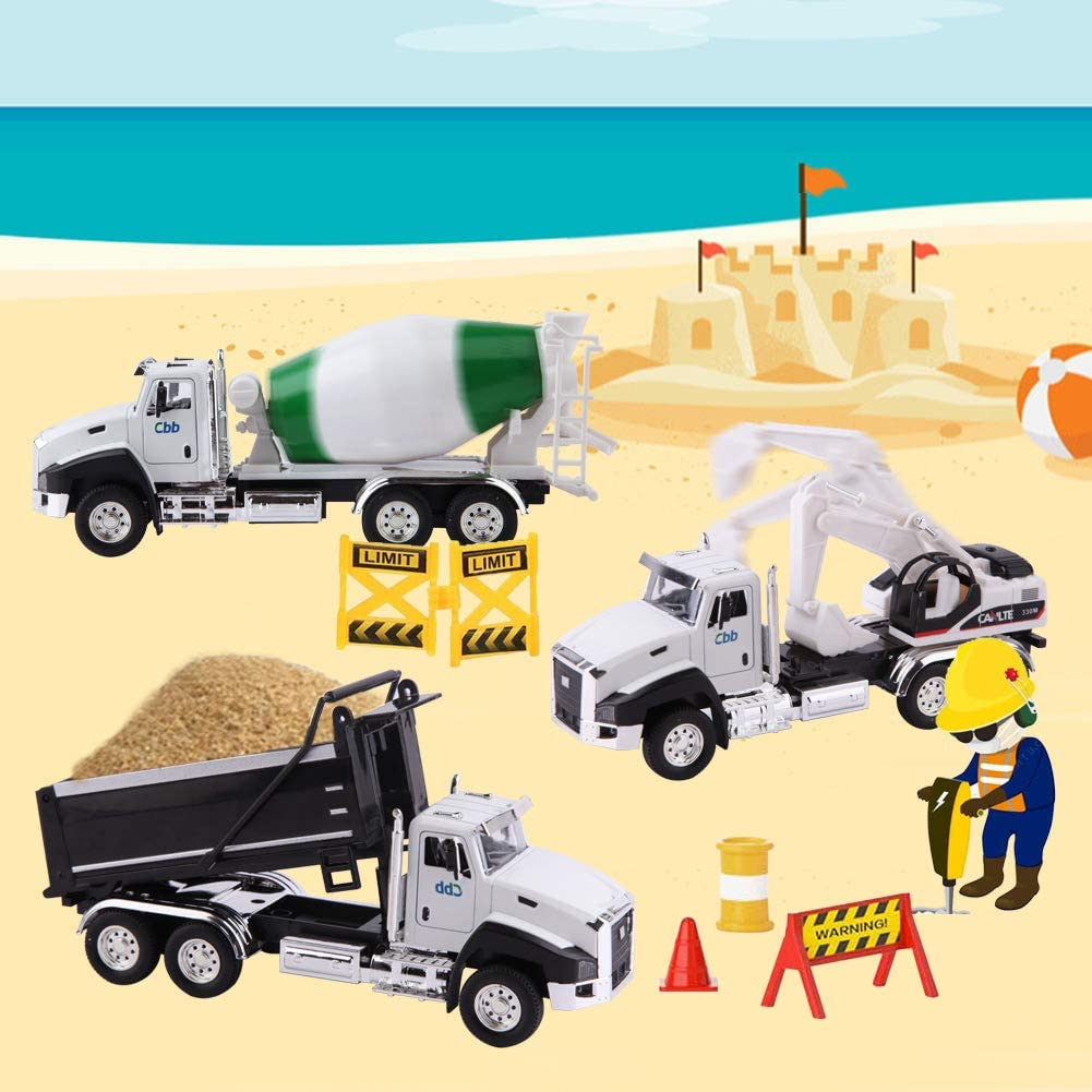 Dump Truck Digger Mixer Truck Pull Back Car Toys with Opening Doors for Boys and Girls Wemfg 3 Pack of Diecast Construction Truck Vehicle Car Toy Set Play Vehicles in Carrier Truck