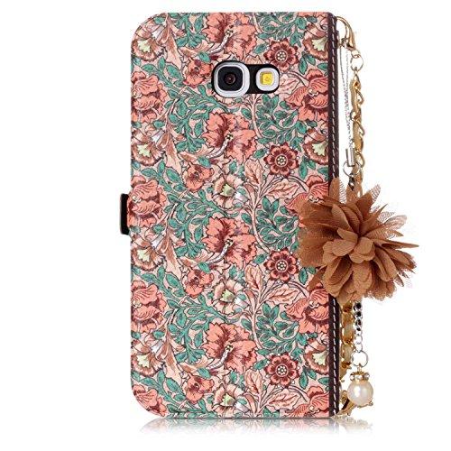 Samsung Galaxy A5 2017 / A520 Lederhülle, Docrax Handy Hülle mit Handschlaufe Leder Klappbar Brieftasche Schutzhülle mit Kartenfach Magnetisch Stoßfest Handyhülle Flip Case für Samsung Galaxy A5 (2017 #7