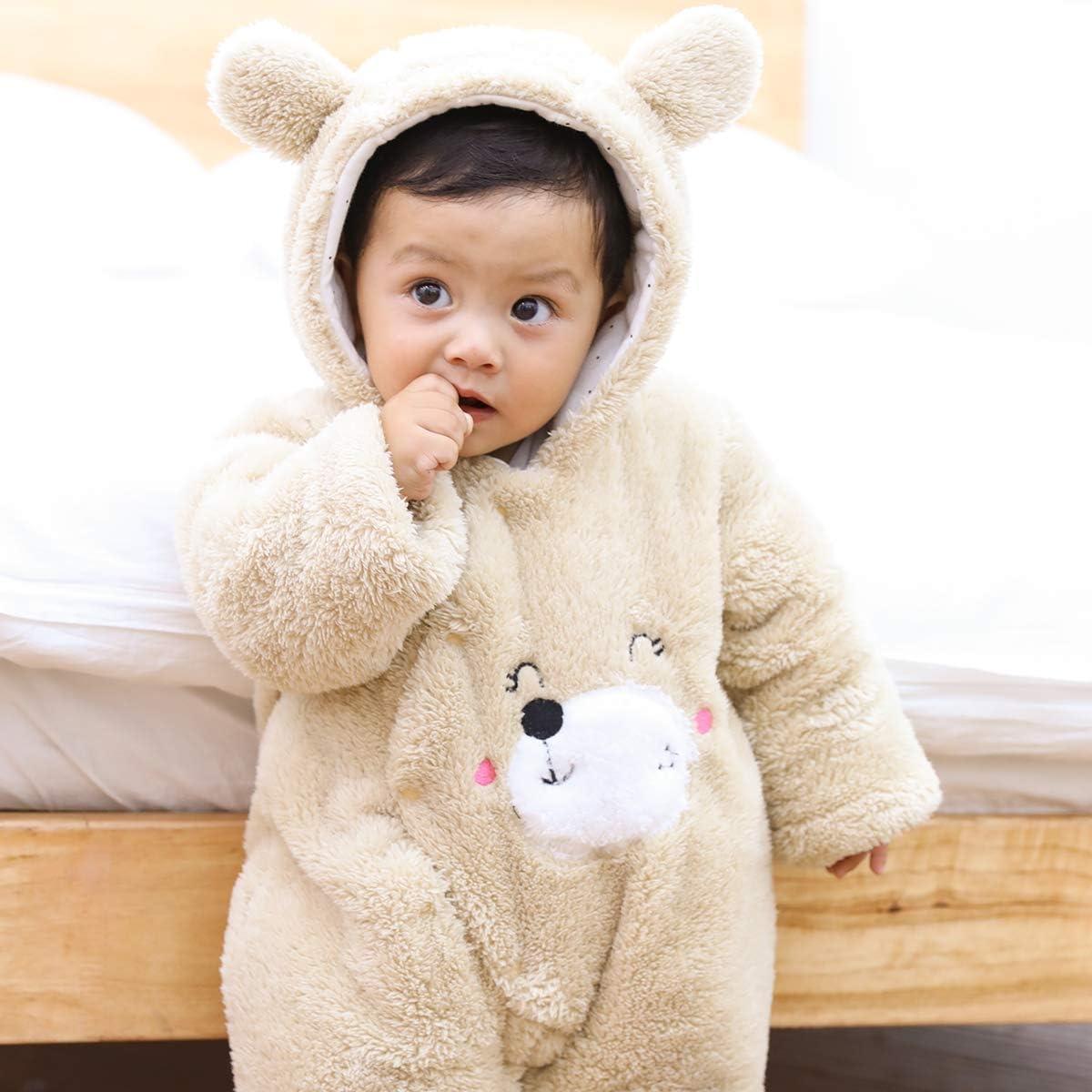 Borlai Unisex Baby Wintermantel Fu/ß Strampler Neugeborene Vorne Schnappt Warme Overall Schneeanzug Bodys