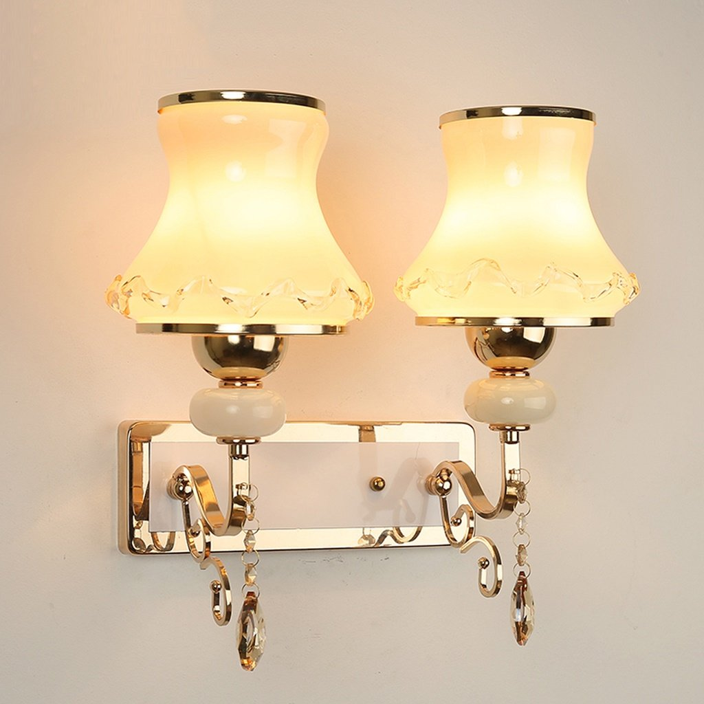 MLMHLMR Doppelwand-Wandlampe des Europäischen Artart Schlafzimmers einfache Moderne Hintergrundwand-Nachttischkristallwand-Gangkorridorlampe Wandleuchte