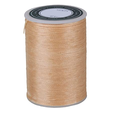 Beige Waxed Flat Polyester Thread Cord Handcraft Leather Work 78M 0.8MM 3-Ply