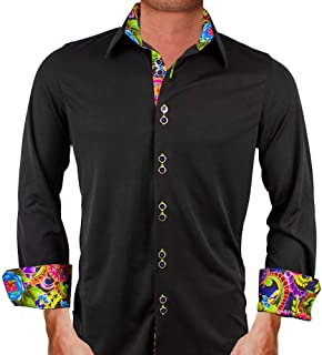 product image for Black with Multi Colored Contrast Moisture Wicking Designer Dress Shirt - Made in USA