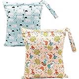 BOBORA Bolsa de Pañales Reutilizable Bolsa con Cremallera Impermeable para mamá Paquete de 2 (Bear + Fox)