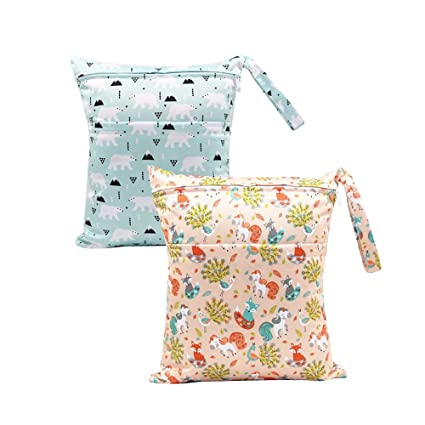 BOBORA Bolsa de Pañales Reutilizable Bolsa con Cremallera Impermeable para mamá Paquete de 2 (Bear
