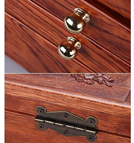 LUCKYYAN Retro fine Emboss Solid Wood Jewelry Box Necklace Storage Box Multifunctional Storage Box for Wedding Birthday Gifts , 2# by LUCKYYAN (Image #6)