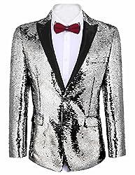 Men's Shiny Sequins One Button Blazer