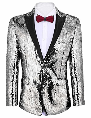(JINIDU Mens Shiny Sequins Suit Jacket Blazer One Button Tuxedo for Party, Wedding, Banquet, Prom,)