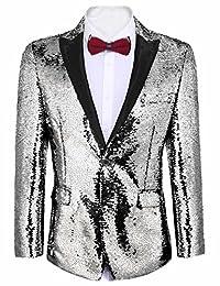 Etuoji Men's Shiny Sequins Suit Jacket Blazer Tuxedo for Party,Banquet,Nightclub