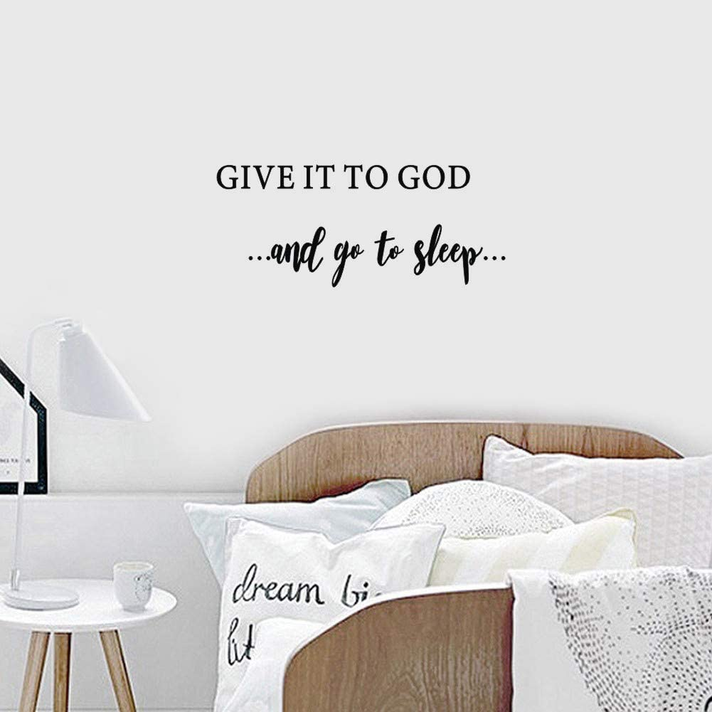Give it to God and Go to Sleep Quotes Wall Decal, Inspirational Religious Saying Sticker, Motivational Typography Vinyl Wall Art for Bedroom Home Decor