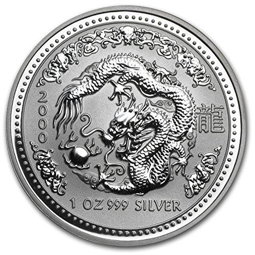 2000 AU Australia 1 oz Silver Year of the Dragon BU 1 OZ Brilliant - Dragon 2000