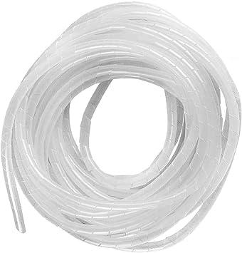 GTIWUNG 15 Metros Organizador de Cables en Espiral, Tubo Flexible en Espiral Evuelto para PC TV DVD cable de antena estéreo agrupar cable, Blanco