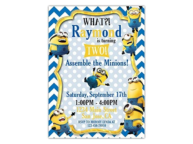 Custom Minions Birthday Party Invitations For Kids 10pc 60pc 4x6 Or 5x7 Cards With White Envelopes Printed On Premium 265gsm Card Stock In