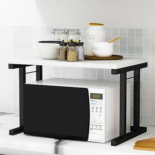 Garosh Estantes de horno de microondas de 2 pisos Tubo cuadrado ...