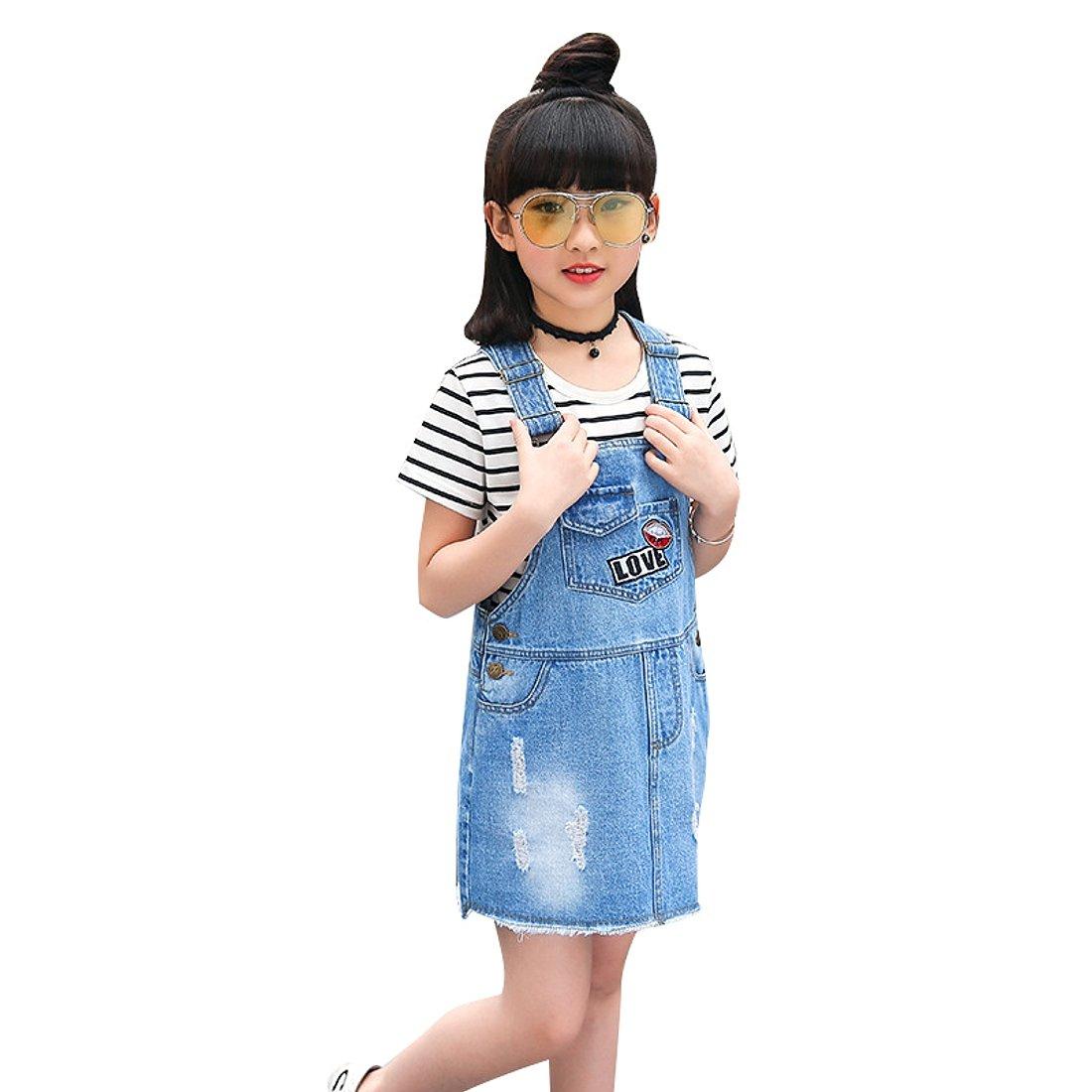 Kidscool Girls Big Bibs Raw Edge Love Lips Summer Overalls Dress,Blue,7-8 Years