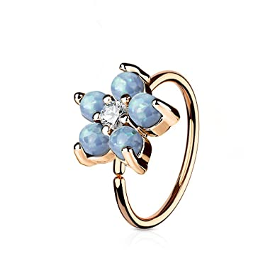 20G - Sold as a Pair Gold Colored Round Ornate CZ Gem L-Shaped Nose Ring 0.8mm