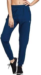 BALEAF EVO Women's Athletic Joggers Pants Dry Fit Running Sweat Pants Zipper Pockets Lightweight Sports Yoga Track Pants