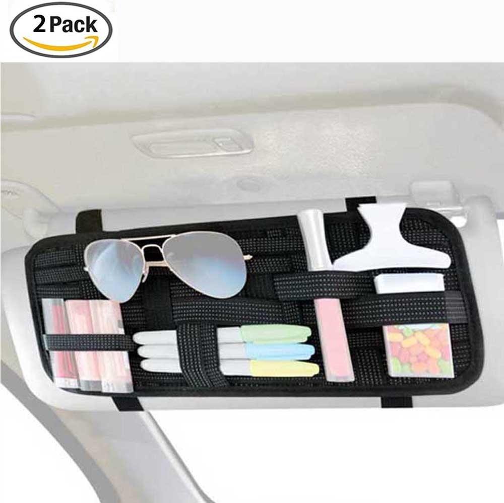 FLYING_WE 2 Packs Car Sun Visor Organizers, Car Visor Storage, Anti-slip Elastic Woven Board Organization for Sunglass Holder Parking Fuel Card Digital Accessories. (Black)