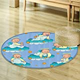 Baptism Decorations Circle carpet By Nalahomeqq Baptism Sitting Sleeping Crawling Smiling Babies On Clouds Catholic Children Party Room Accessories Extralong-Diameter 160cm(63'')