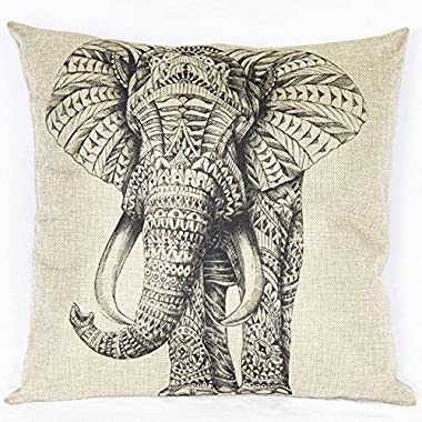 Wonder4 Beige Cotton Blend Linen Square Decorative Throw Pillow Covers - Indoors or Outdoors Cushion Cases Cartoon Animal Style Abstract Elephant 18  x 18