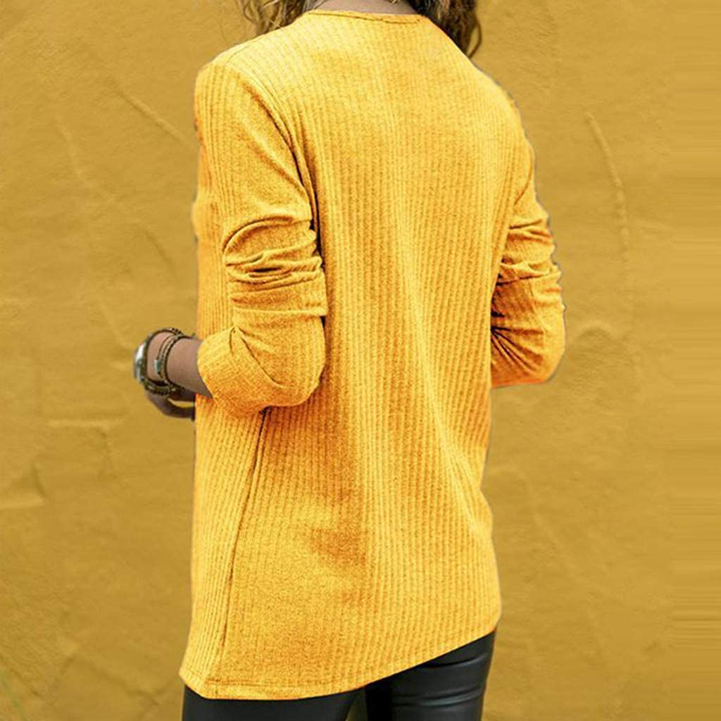 Sttech1 Womens Tops Casual Loose Round Neck Long Sleeve Color Matching Shirts Blouse T-Shirt