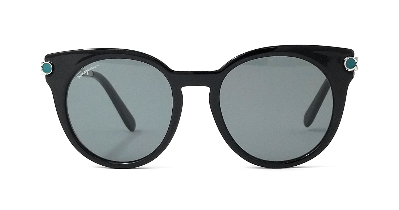 97e7456112 Amazon.com  Salvatore Ferragamo Sunglasses SF831S 976 Black-Silver Round  Womens 51x19x140  Clothing