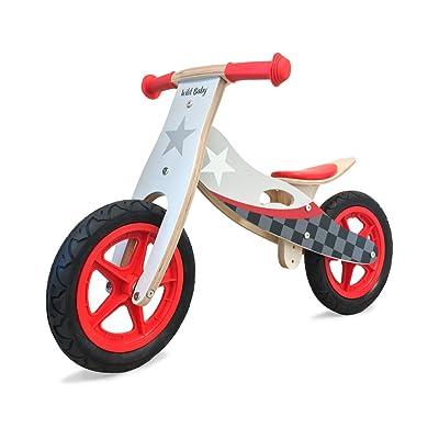 Wild Baby Wooden Balance Running Bike - Upgraded Birch Wood Frame, No Pedal Push Bike Girls and Boys Training Bike For Toddlers and Kids