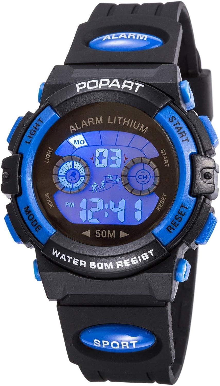 Amazon Com Kid Watch For Child Boy Girl Led Multi Function Sport Outdoor Digital Dress Waterproof Alarm Blue Watches