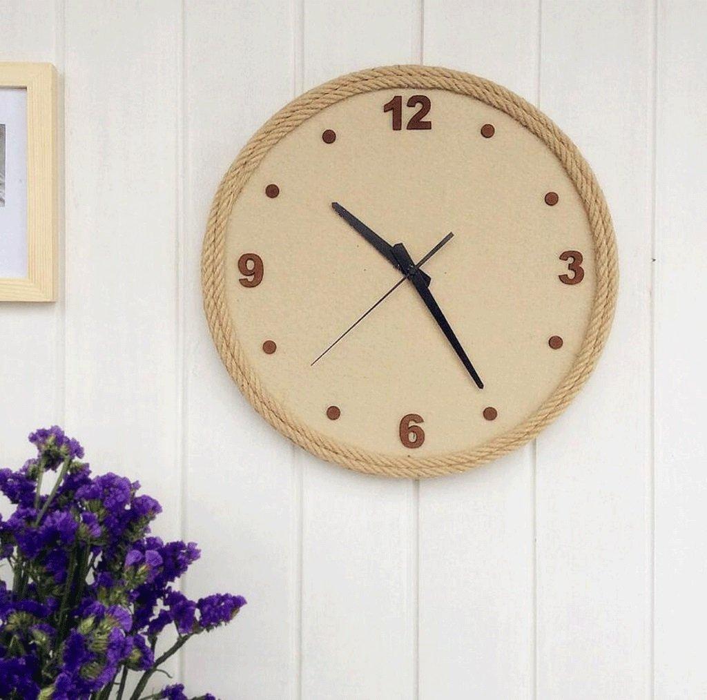 TXXM® クリエイティブなシンプルさスカンジナビアスタイルのソリッドウッドの麻の壁時計ラウンド手作りの木の工芸の壁時計 B07DYMX1JS