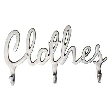 "Shabby Chic Style ""Clothes"" Coat Rack Hooks by Comfify - Polished  Metal Contemporary"