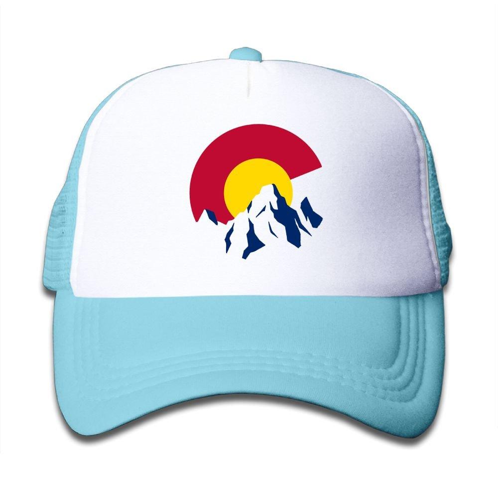 Colorado Rocky Mountain Mesh Baseball Caps Children Adjustable Trucker Hats for Boy Girl