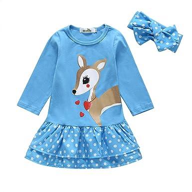 Ropa Bebé Niñas Vestido Manga Larga Ciervos de Dibujos Animados Tops Camiseta Falda para Bebés Niños 6 Meses-5 años Holatee: Amazon.es: Ropa y accesorios