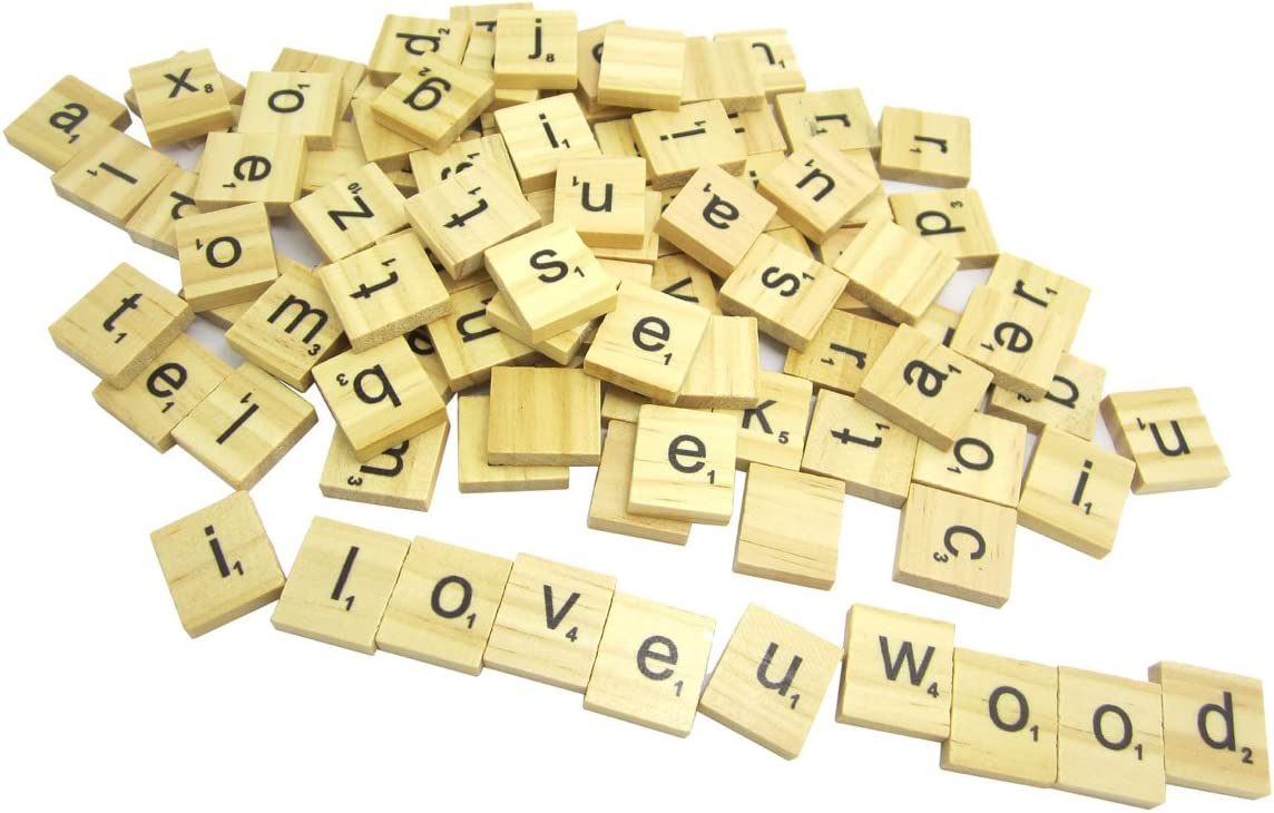 WINGONEER 100PCS Madera Scrabble Azulejos Letra Alfabeto Scrabbles Número Artesanía Inglés Palabras minúsculas mezcladas: Amazon.es: Hogar