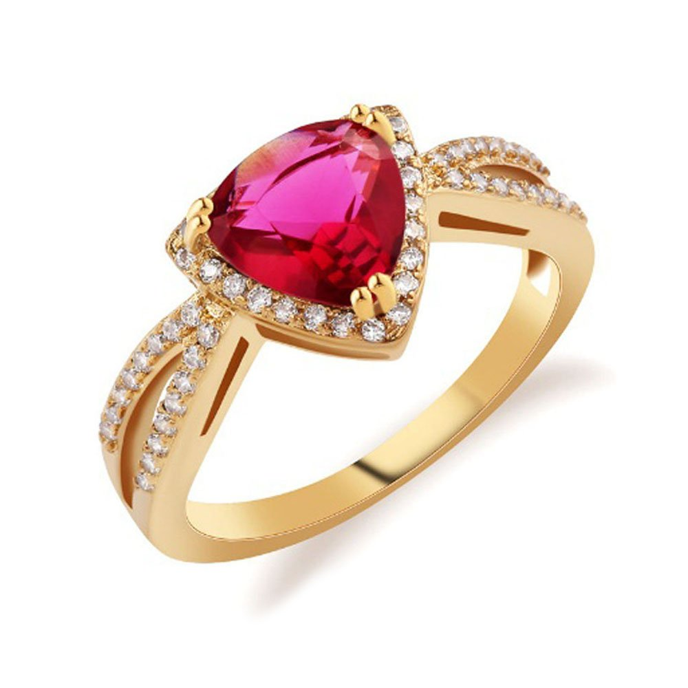 Amazon Ft Jewel New Fashion Triangle Band Gold Plated Ring For Women Rose Jewelry Wedding Rings Tt: Triangle Ruby Wedding Rings At Reisefeber.org
